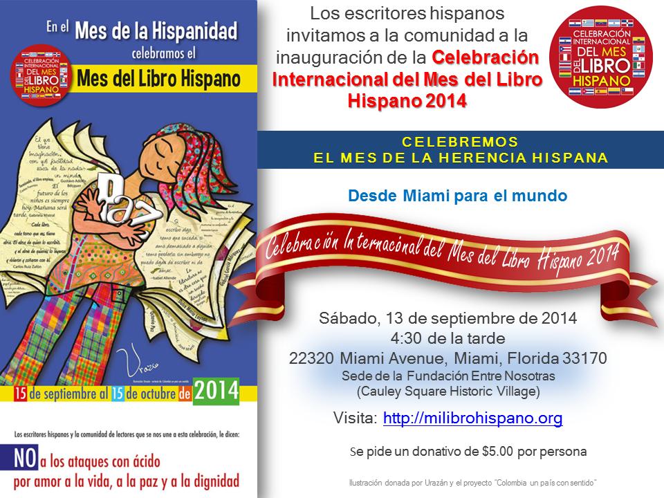 Tarjeta de invitación Inauguración Mes del Libro Hispano 2014
